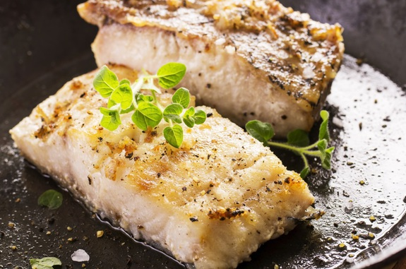 grouper fillet fried with herbs