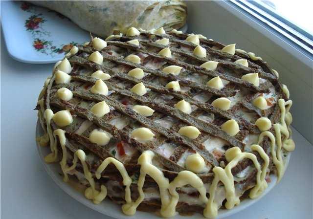 Печеночный торт из свиной печени – рецепт