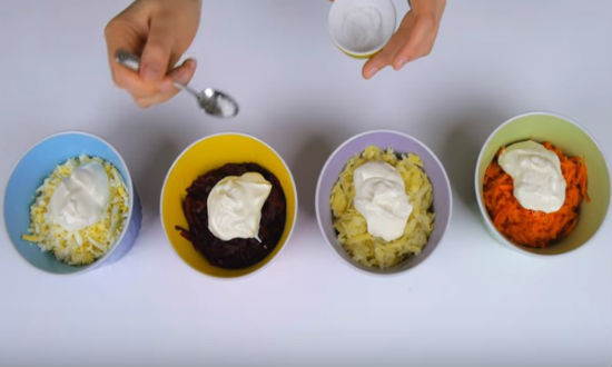 Подготовленные ингредиенты салата