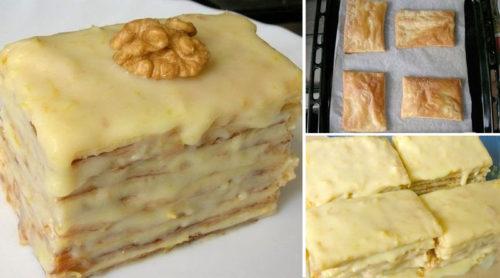 Слоеное-пирожное-со-сгущенкой