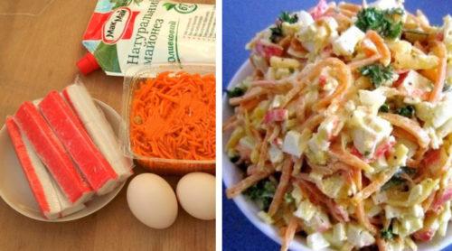 Очень-простой-салат-с-морковью-сыром-и-крабовыми-палочками