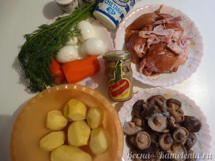 Приготовление рецепта Салат слоёный с копчёной курочкой шаг 1