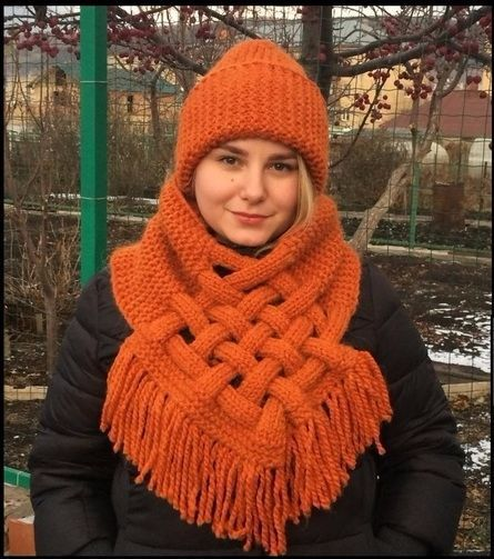 Лайфхак: Снуд-шарф с элементами плетения | ЛайфХак 365