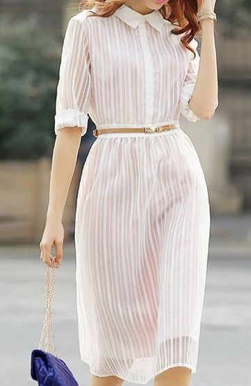 Love the sheerness of this dress, complemented with a belt to draw the attention to her waist... Ylime xxx