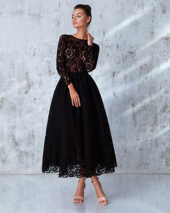 Платье «Франческа» миди черное, Цена— 34990 рублей