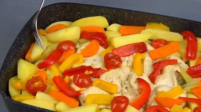 Куриное филе с овощами и картофелем в духовке
